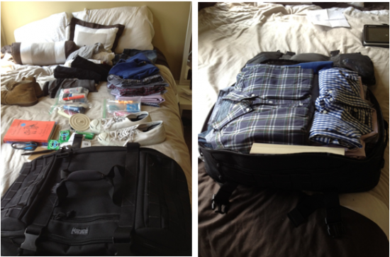 Maxpedition Fliegerduffel before and after packing