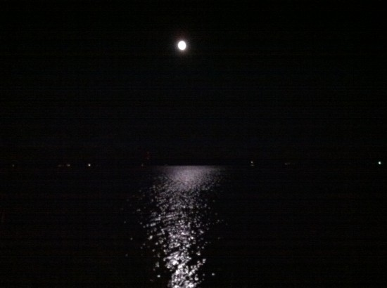 Moon reflecting off Ten Mile Lake