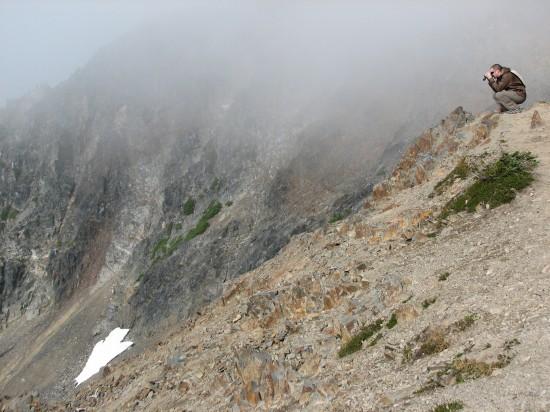 Devin Viewing Mt Rainier with Vanguard Endeavor Binoculars