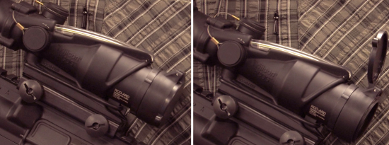 Trijicon ACOG Flip Covers closed to open