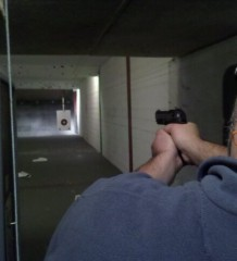 handgun at range