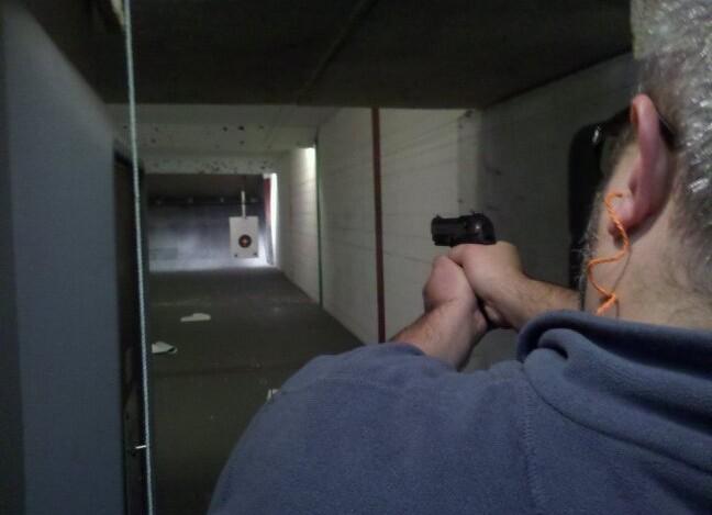 handgun at range