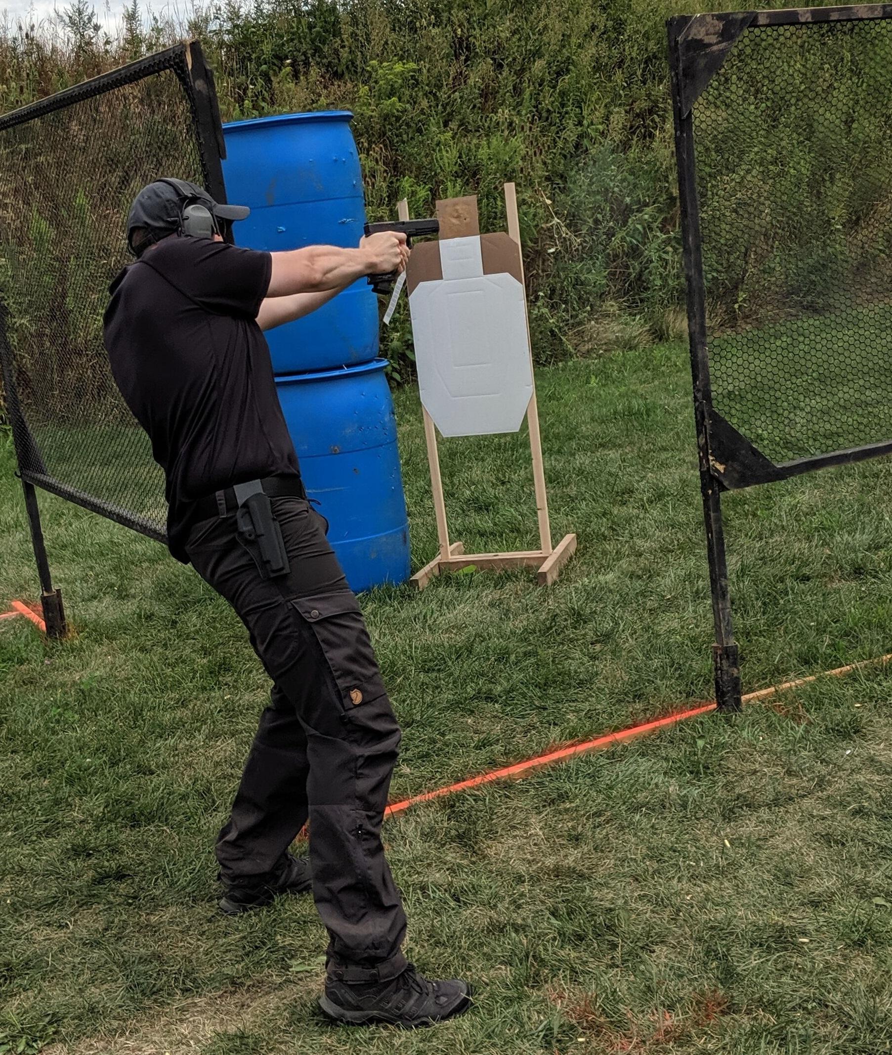 Tactical shooting practice in Fjallraven pants.