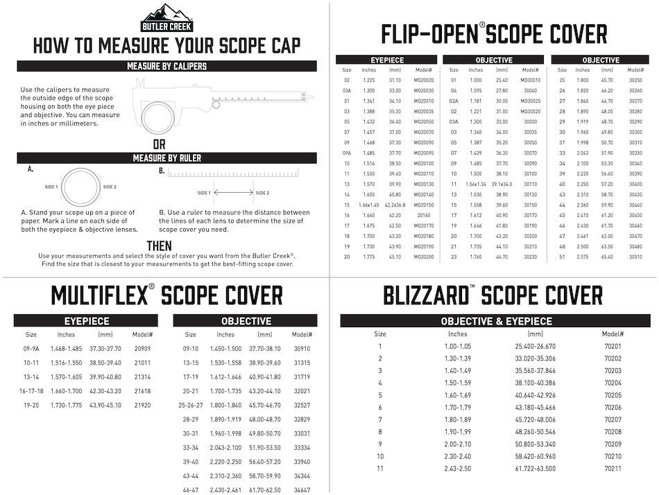 butler creek scope cap sizing chart