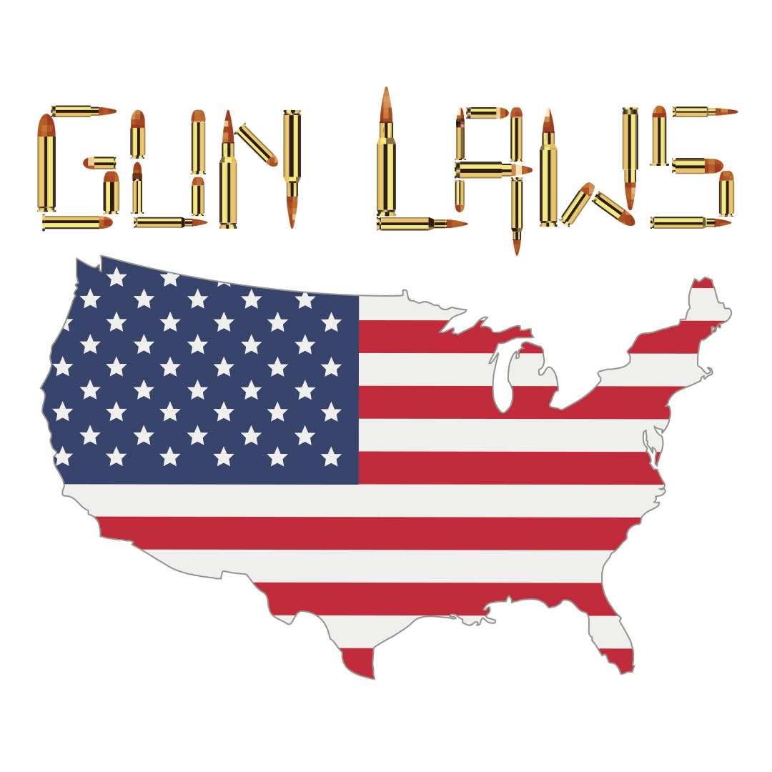 """""""Gun Laws"""" written in letters made of ammo over a map of the U.S. with an American flag printed over it."""