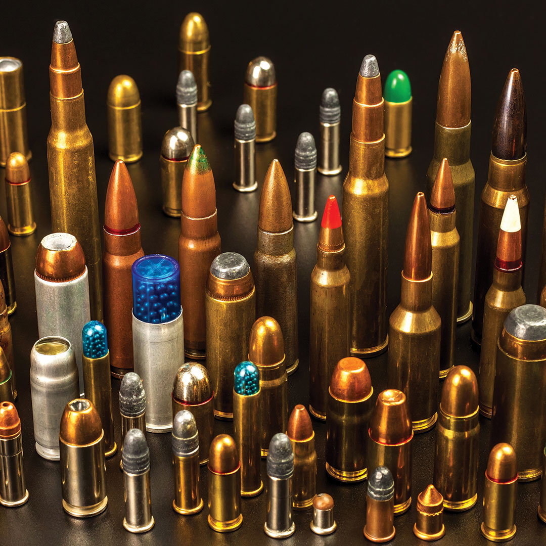 A variety of individual ammunition cartridges in a variety of calibers.