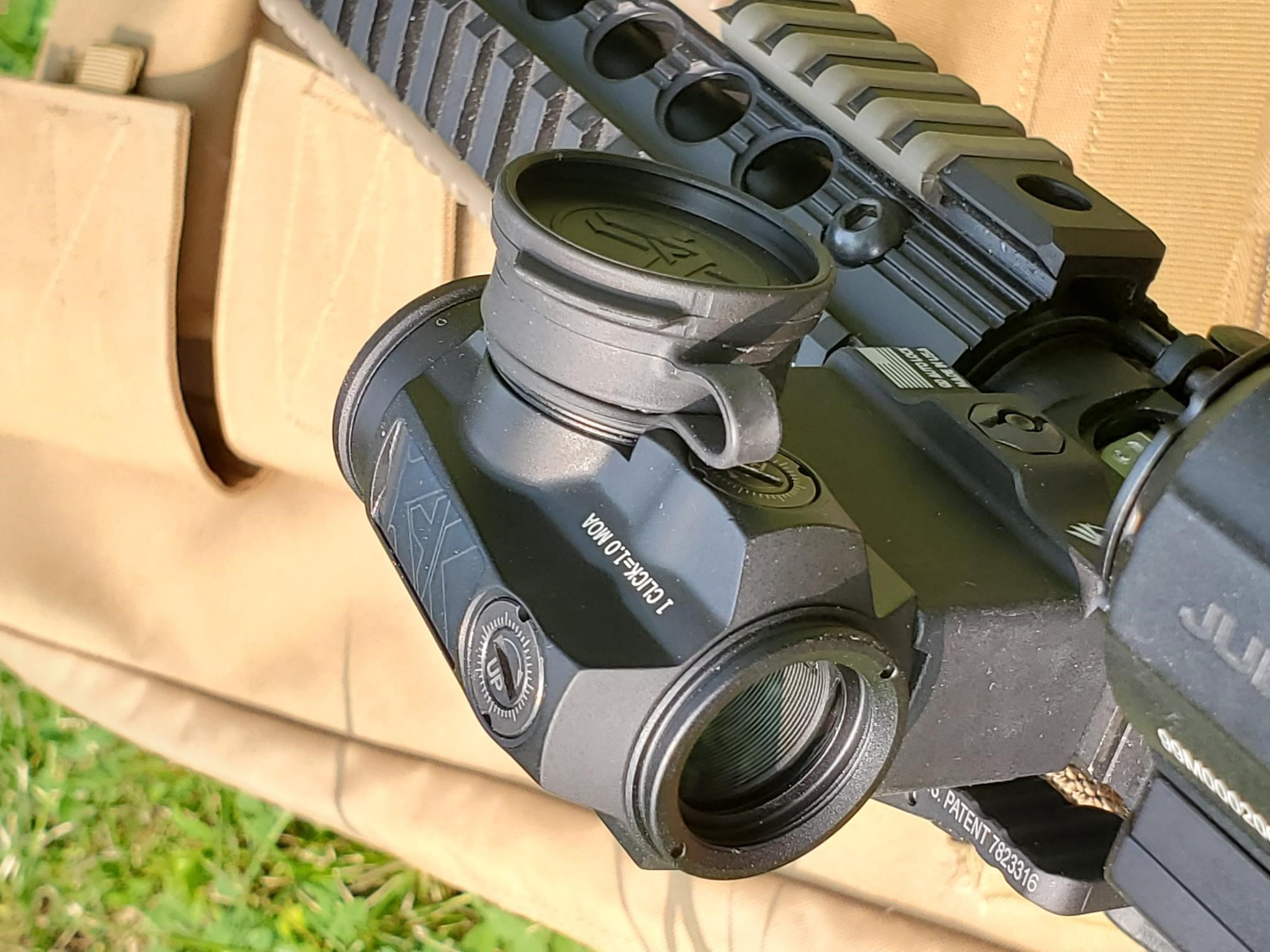 vortex sparc red dot sight mounted on AR
